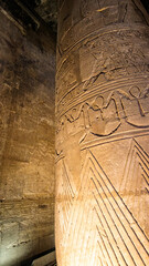 Details hieroglyphics on large column of Edfu Horus temple uplight in hall