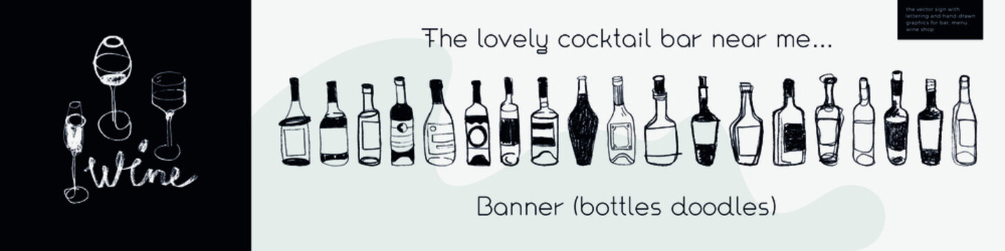 Horizontal restaurant banner with wine bottles doodle in trendy line art style. Homemade cooking with Cooking utensils vector. Cooking courses banner. Wine icons for bar poster, local wine event