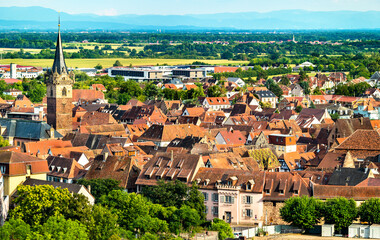 View of Obernai, a historic town in Bas-Rhin, France