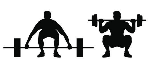 weight lifting man silhouette vector isolated on white background. squat exercise.