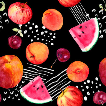 Fun fruit motif with apricot, peach, cherry, watermelon - summer fruits. Seamless pattern with random lines and dots - positive memphis style, trendy art. Watercolor on black background