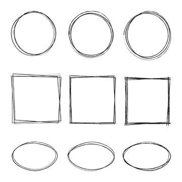 vector illustration of hand drawning circle, oval, square line sketch set isolated on transparent background. Art design round circular scribble doodle. Abstract graphic element for message note mark