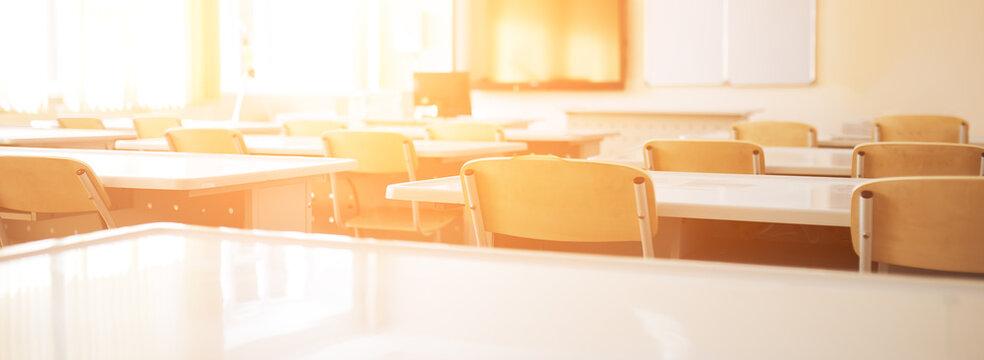 Empty school class during school holidays, back to school, children education