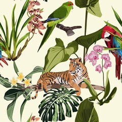 Exotic animal: tiger and parrot in the jungle pattern vintage background illustration seamless pattern. Trendy composition beach wallpaper with animals and exotic flowers.