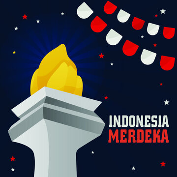 Indonesia Indenpendence day Monas Vector. HUT RI 75