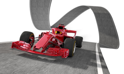 red f1 racecar on a wired track 1