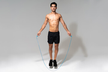 Athletic Latin Male Skipping Rope At Studio