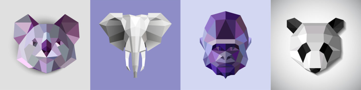A set of stylized images of animals. Abstract head, icon drawn from geometric shapes. Origami for animal prints on fashion clothes. Rare animals, koala, large elephant, gorilla and panda.