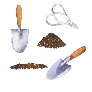 Garden tools collection. Soil, shovels and scissors on white background. Hand drawn watercolor illustration.