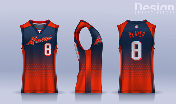 Basketball tank top design template, Sport jersey mockup. uniform front , side and back view.