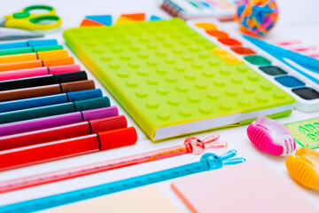 colourful mock-up Flat-lay stationery chalk Board on a white background of the table, knolling.