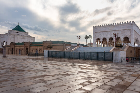 Mausoleum of Mohammed V, a historical building in Rabat, Morocco. It contains the tombs of the Moroccan king and his two sons, late King Hassan II and Prince Abdallah