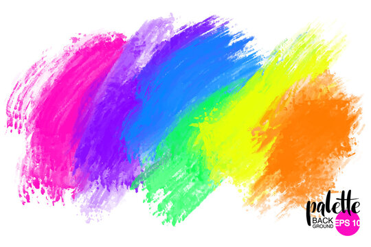 Artistic backdrop, vector with brush strokes, brush paint look background with colorful hand painted stains.