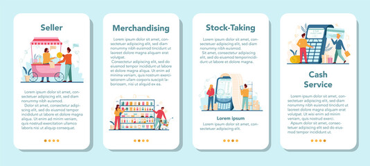 Seller concept mobile application banner set. Professional worker