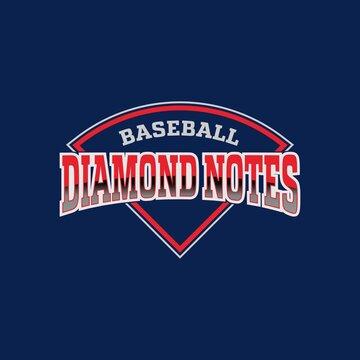 Baseball diamond notes logo design template