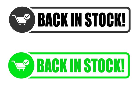 Back in stock stamp icon, vector image set.