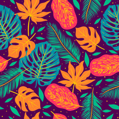 Seamless pattern with tropical leaves on a purple background. Vector graphics.