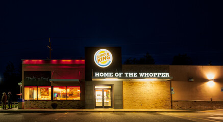 Burger King restaurant in Oregon, nighttime photo.