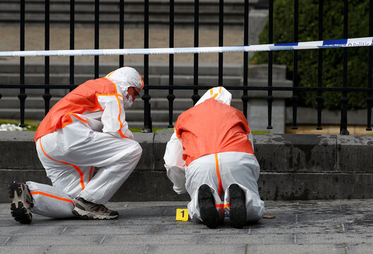 Forensic investigators are seen in front of the Belgian Parliament after a suspect threw a Molotov cocktail, according to local media, in Brussels