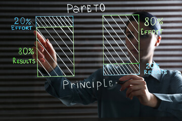 Woman writing 80/20 rule representation on glass board in office. Pareto principle concept