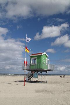 Eine Rettungsschwimmer Hütte auf Langeoog