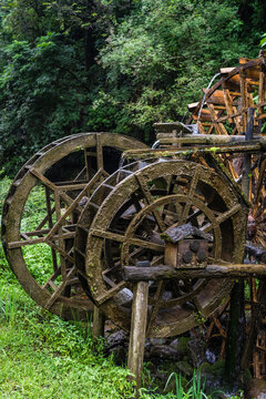 Old mill wooden water wheels in China