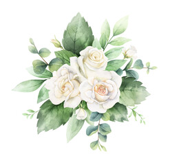 Watercolor vector hand painted bouquet with green eucalyptus leaves and white roses.