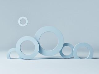 Podium scene mockup with geometric form, blue background, 3d render, 3d illustration