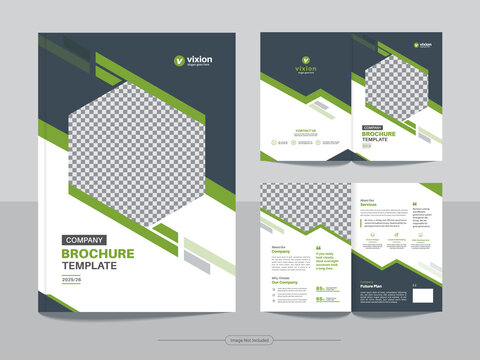 Clean corporate business bifold brochure magazine print-ready design template with minimal, creative and abstract shapes in A4 format