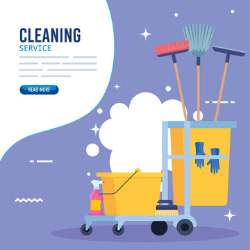 cleaning service banner, cleaning trolley with equipment icons vector illustration design