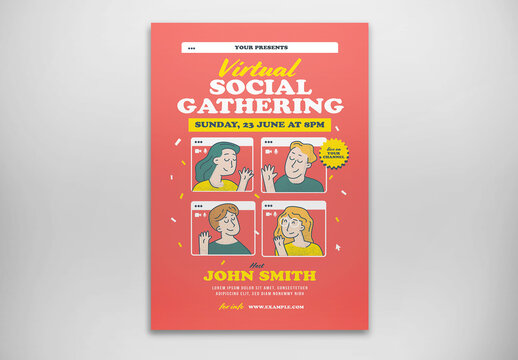 Virtual Social Gathering Flyer