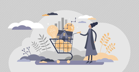 Cost of living with expenses consumption in cart flat tiny persons concept.