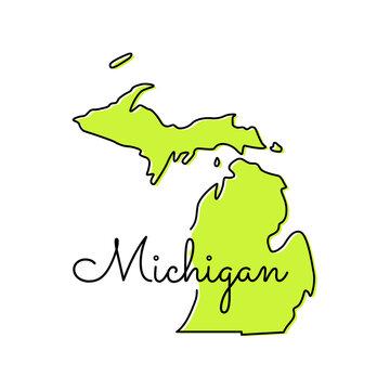 Map of Michigan Vector Design Template