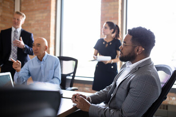 Attentive businessman in conference room meeting