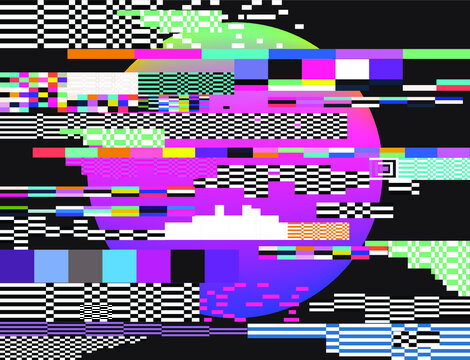Abstract technology background with pixel noise compression artifacts.  Glitched screen with digital datamoshing effect video damage