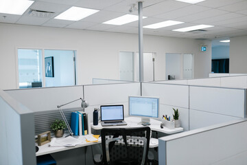 Office space with laptop