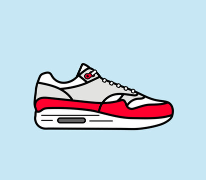Modern air chamber style sneaker/trainer. Vector illustration. Red, grey and white