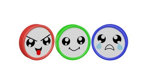 drei bunte Emoticons in frecher, lustiger und trauriger Stimmung auf weißem Hintergrund.