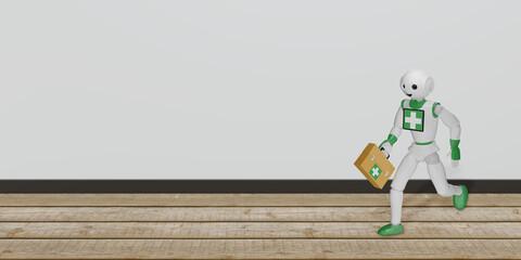 Roboter rennt mit Erste Hilfe Tasche über Holzboden.