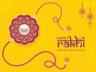 Happy Rakhi. Illustration of banner, poster or greeting card design with decorative Rakhi for Raksha Bandhan, Indian festival of brother and sister bonding celebration.