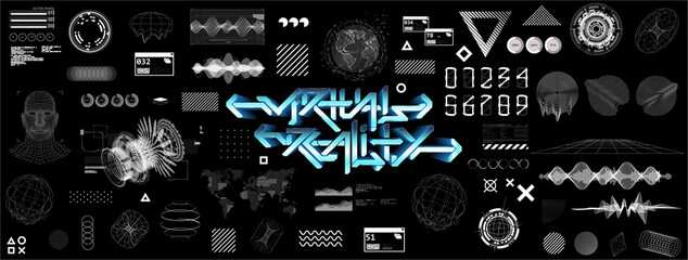Modern universal futuristic shapes, HUD, GUI, Sky-fi with glitch effects. Cyberpunk retrofuturism concept. Vaporwave digital abstract elements for web banners, poster design and UI, UX, KIT.