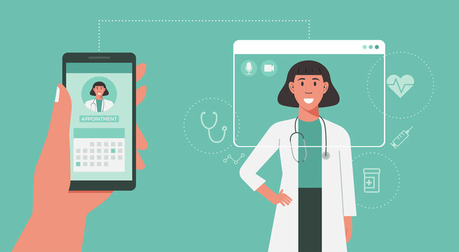 patient hand holding phone and using mobile app to book doctor appointment online, healthcare, medical and technology concept, vector flat illustration