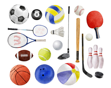 Watercolor illustration of sport balls set like water polo, soccer, basketball and baseball isolated on white background