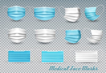 Collection of a blue and white medical face masks isolated on transparent background. To protect from infection and coronavirus Covid -19. Realistic Vector Illustration.