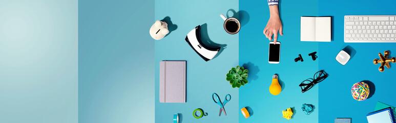 Photo sur Plexiglas Echelle de hauteur Collection of electronic gadgets and office supplies - flat lay
