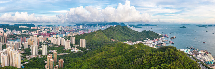 Wall Mural - Aerial view of Tsing Yi, West of Hong Kong