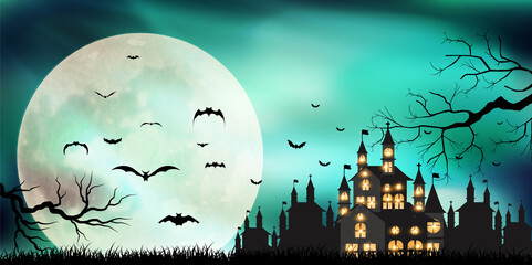 ハロウィン 城 月 背景