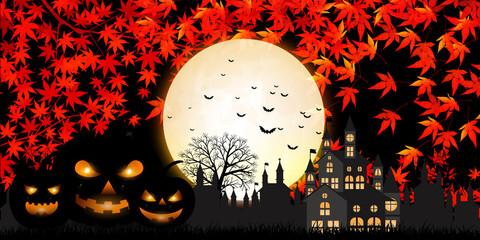 ハロウィン かぼちゃ 紅葉 背景