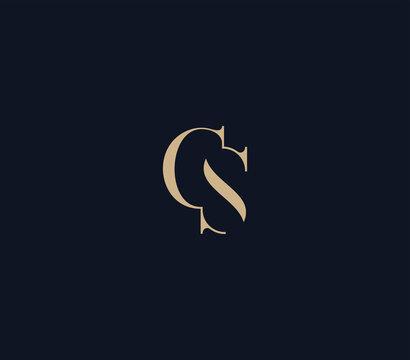 luxury letter CS logo design template