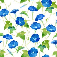 Seamless pattern of morning glory (asagao) flowers